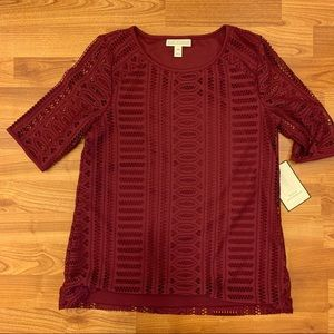 Dana Buchman burgundy lace top